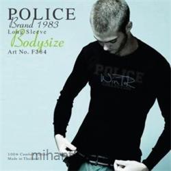 عکس ارائه دهنده اصلی برند تی شرت کتان آستین بلند یقه گرد مدل F364 پلیس POLICE BODY SIZE