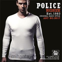 تی شرت کتان آستین بلند یقه هفت مدل B017 پلیس POLICE BODY SIZE