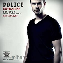 عکس ارائه دهنده اصلی برند تی شرت کتان آستین کوتاه یقه هفت مدل X003 پلیس POLICE BODY SIZE