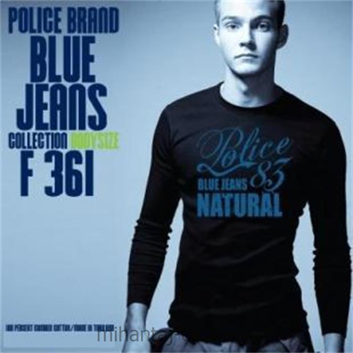 تی شرت کتان آستین بلند یقه گرد مدل F361 پلیس POLICE BODY SIZE