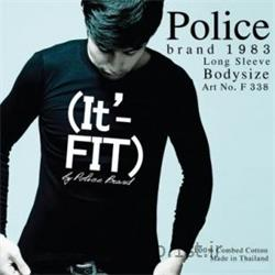 عکس ارائه دهنده اصلی برند تی شرت کتان آستین بلند یقه گرد مدل F338 پلیس POLICE BODY SIZE