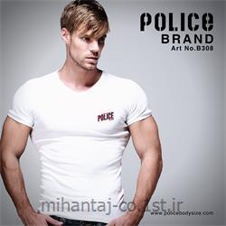 تی شرت کتان آستین کوتاه یقه گرد مدل B308 پلیس POLICE BODY SIZE