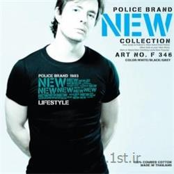 تی شرت کتان آستین کوتاه یقه گرد مدل F346 پلیس POLICE BODY SIZE