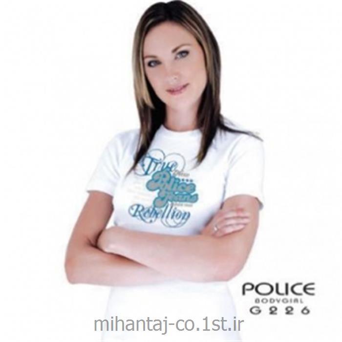 تی شرت کتان آستین کوتاه یقه گرد دخترانه مدل G226 پلیس POLICE BODY SIZE
