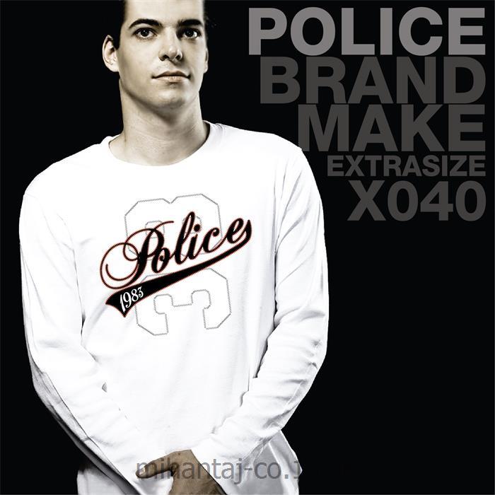 تی شرت کتان آستین بلند یقه گرد مدل X040 پلیس POLICE BODY SIZE
