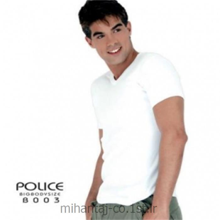 عکس ارائه دهنده اصلی برند تی شرت کتان آستین کوتاه یقه گرد مدل B003 پلیس POLICE BODY SIZE