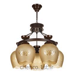 عکس لوستر و چراغ های روشنایی آویزلوستر چوبی 5 شعله مدل 562