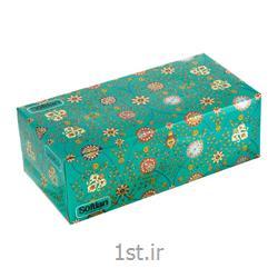 عکس دستمال کاغذیدستمال کاغذی ۱۵۰ برگ دو لایه سری فرش گل شاه عباسی سافتلن