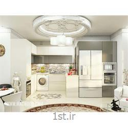 عکس کابینت آشپزخانهکابینت های گلاس ترکیب خاکستری و سفید