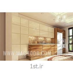 عکس کابینت آشپزخانهکابینت های گلاس سفید ترکیبی با ام دی اف