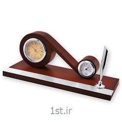 ساعت رومیزی چوبی با دماسنج