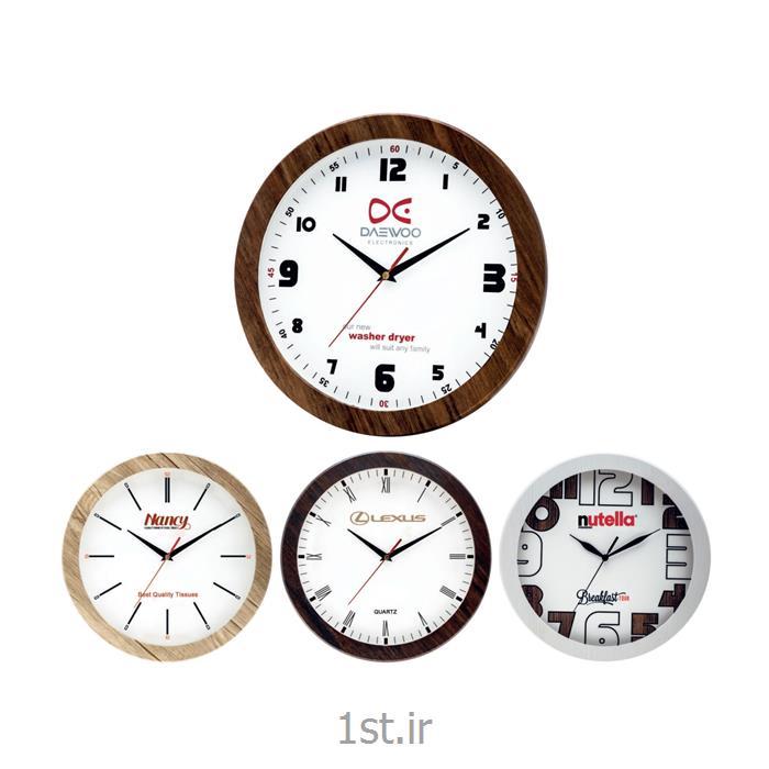 عکس ساعت دیواریساعت دیواری تبلیغاتی دایره ای چوبی آنالوگ مدل 5164