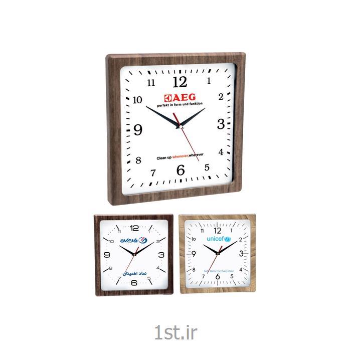 عکس ساعت دیواریساعت دیواری چوبی چهارگوش تبلیغاتی آنالوگ مدل 5169