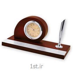 ساعت رومیزی جاقلمی دار چوبی بیضی