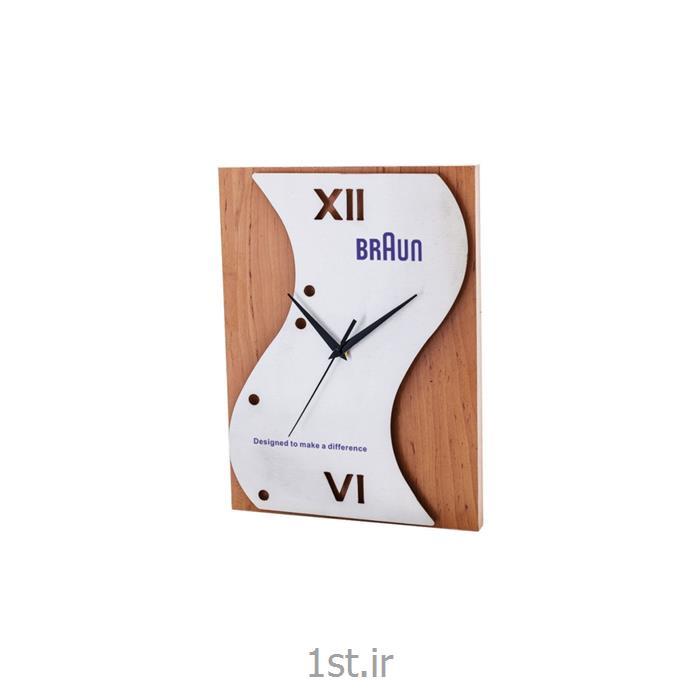 عکس ساعت دیواریساعت دیواری تبلیغاتی استیل و ام دی اف آنالوگ مدل 5173