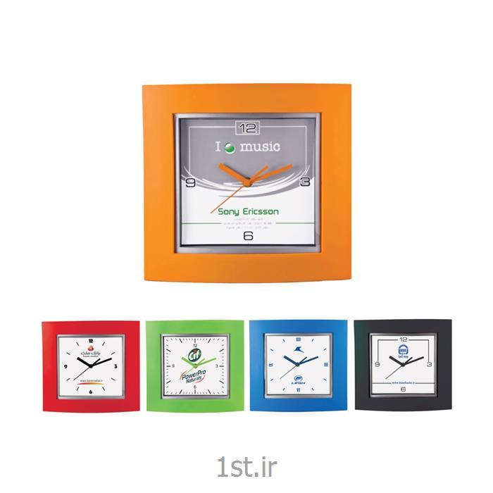 ساعت دیواری تبلیغاتی 5135 چهارگوش پلاستیکی با شیشه محدب