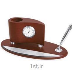ساعت رومیزی با جاقلمی چوبی مدل برگی