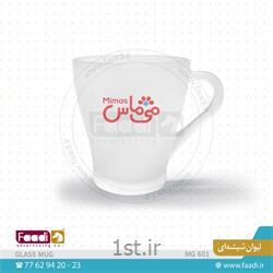 عکس ماگ (لیوان دسته دار بزرگ)لیوان شیشه ای مات تبلیغاتی با چاپ رنگی کد C601