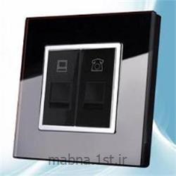 سوکت تلفن و کامپیوتر ( شبکه ) مشکی با فریم کریستال شیشه ای
