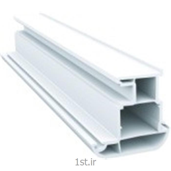 عکس پنجرهپروفیل میانی متحرک چهار کانال سفید و لمینیت طرح چوب مدل 6005
