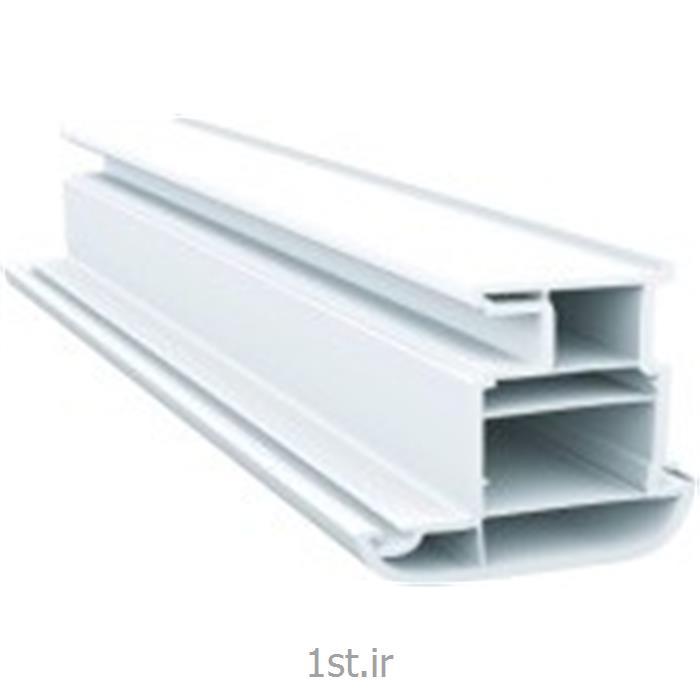 پروفیل لنگه در بیرون بازشو سری 70 پنج کانال سفید و طرح چوب مدل 7006