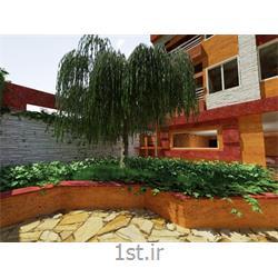 طراحی فضای محوطه حیاط ساختمان با استفاده از سنگ های تراورتن و آنتیک