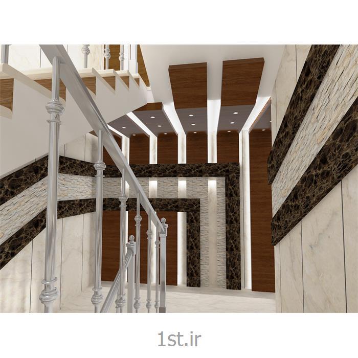 طراحی محوطه راهرو و راه پله با سنگ