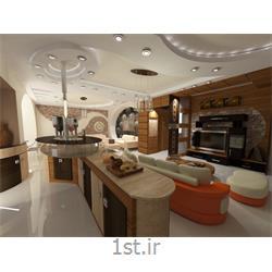 دکوراسیون داخلی پذیرایی با استفاده از چوب و سنگ آنتیک و طراحی سقف