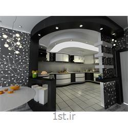 طراحی دکوراسیون داخلی آشپزخانه به سبک مدرن با رنگبندی سیاه و سفید
