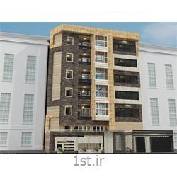 طراحی نمای مدرن ساختمان با استفاده از سنگ آنتیک، آجر نسوز و سنگ تراورتن