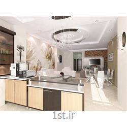 دکوراسیون داخلی پذیرایی با رنگبندی سفید و قهوه ای