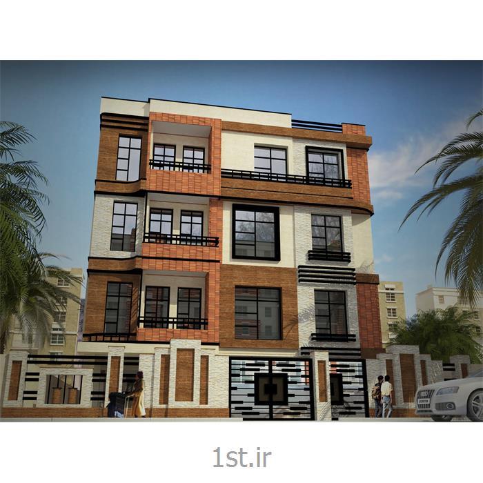عکس طراحی ساختماننما مدرن ساختمان با سنگ تراورتن و سیمان رنگی