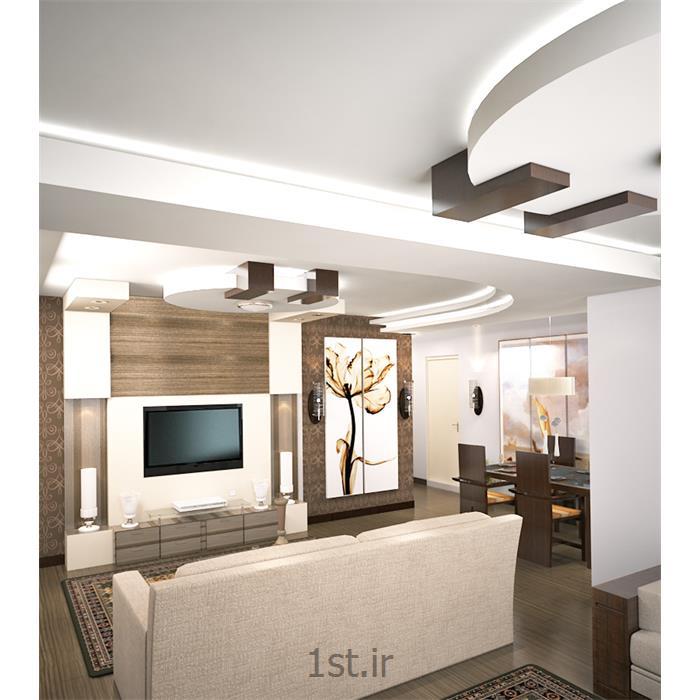 طراحی دکوراسیون داخلی پذیرایی با کناف و چوب