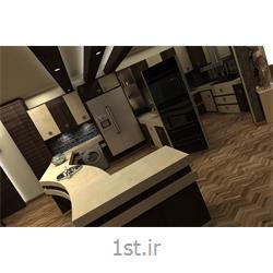 طراحی دکوراسیون داخلی آشپزخانه به سبک مدرن با رنگبندی قهوه ای و سفید