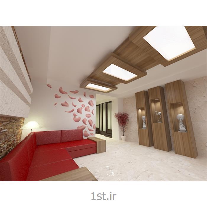 طراحی دکوراسیون داخلی لابی با رنگبندی سفید و با استفاده از چوب