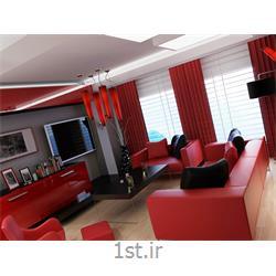 طراحی دکوراسیون داخلی آشپزخانه به سبک مدرن با رنگبندی قرمز و سیاه