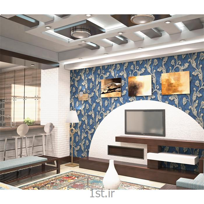 طراحی دکوراسیون داخلی پذیرایی با کاغذ دیواری و چوب