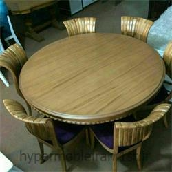 میز ناهارخوری 6 نفره گرد چوبی مدل 53