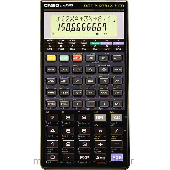 عکس ماشین حسابماشین حساب مهندسی کاسیو برنامه پذیرCASIO مدل FX-4500PA