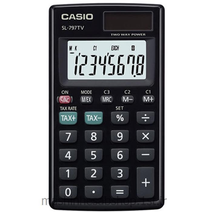 عکس ماشین حسابماشین حساب جیبی کاسیو مدل CASIO SL-797TV-BK