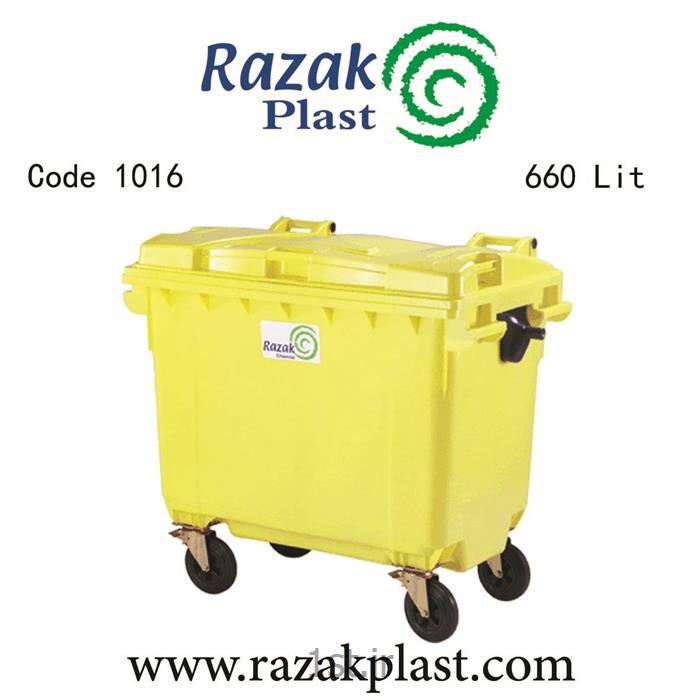 عکس سطل زباله (سطل آشغال)سطل زباله پلاستیکی مکانیزه 660 لیتری