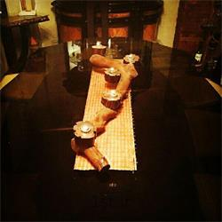 عکس پایه شمع (شمعدان)جاشمعی دست ساز چوبی رومیزی و دکوری