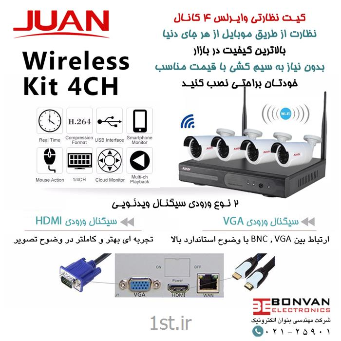پکیج 4 کانال دوربین مداربسته برند JUAN مدل K9604W-PE3020W