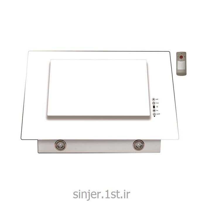 عکس هود اجاق گازهود شیشه تخت سفید  تایمر و ریموت دار سینجر Sinjer HV04