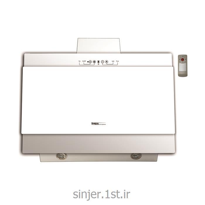 هود شیشه تخت بلند سفید فیلتر آلومینیوم  ریموت دار سینجر Sinjer HV06