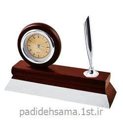 ساعت و جا قلمی چوبی رومیزی تبلیغاتی کد W010
