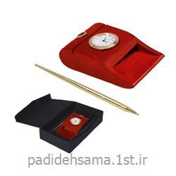 ست رومیزی (ساعت چوبی و خودکار فلزی) تبلیغاتی