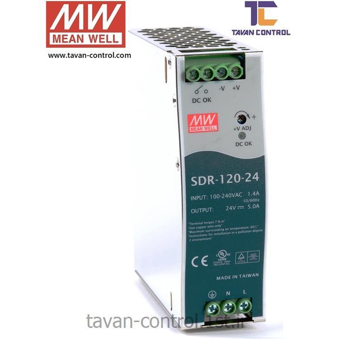 منبع تغذیه سوئیچینگ مین ول 24 ولت 5 آمپر مدل SDR-120-24 MEAN WELL