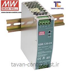عکس منبع تغذیه سوئیچینگمنبع تغذیه مینول 24 ولت 5 آمپر ریلی مدل EDR-120-24 MEAN WELL