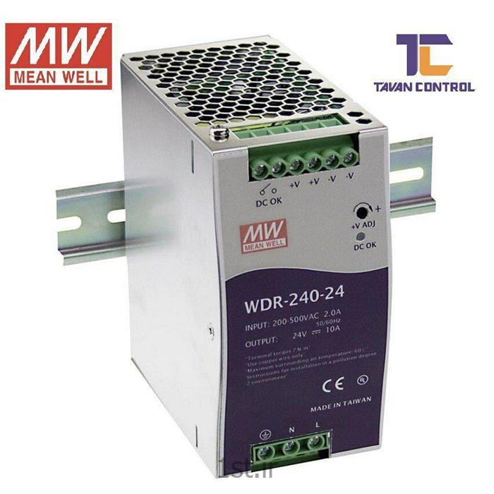 منبع تغذیه سوئیچینگ 24 ولت 10 آمپر ریلی مینول مدل MEANWELL WDR-240-24